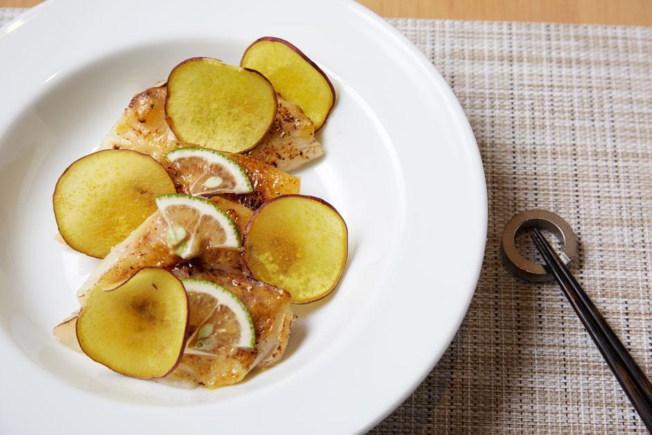 「鯛とサツマイモの柚子味噌焼き」完成写真