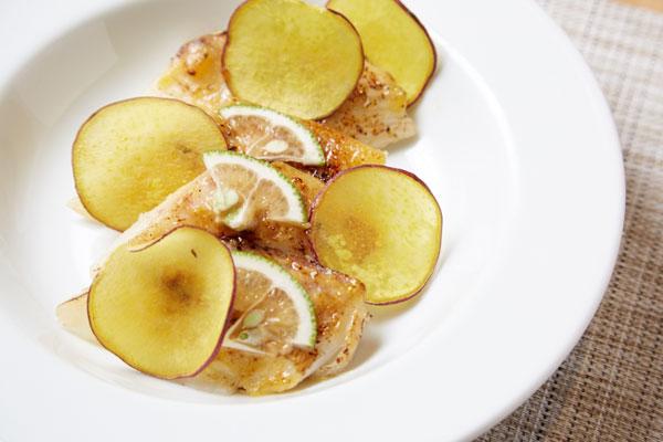 鯛とサツマイモの柚子味噌焼き