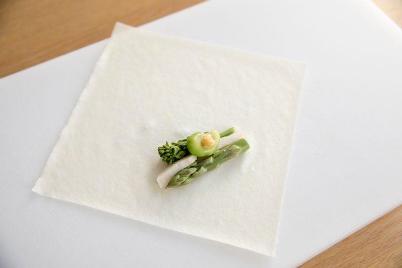 春野菜の春巻き 巻き方