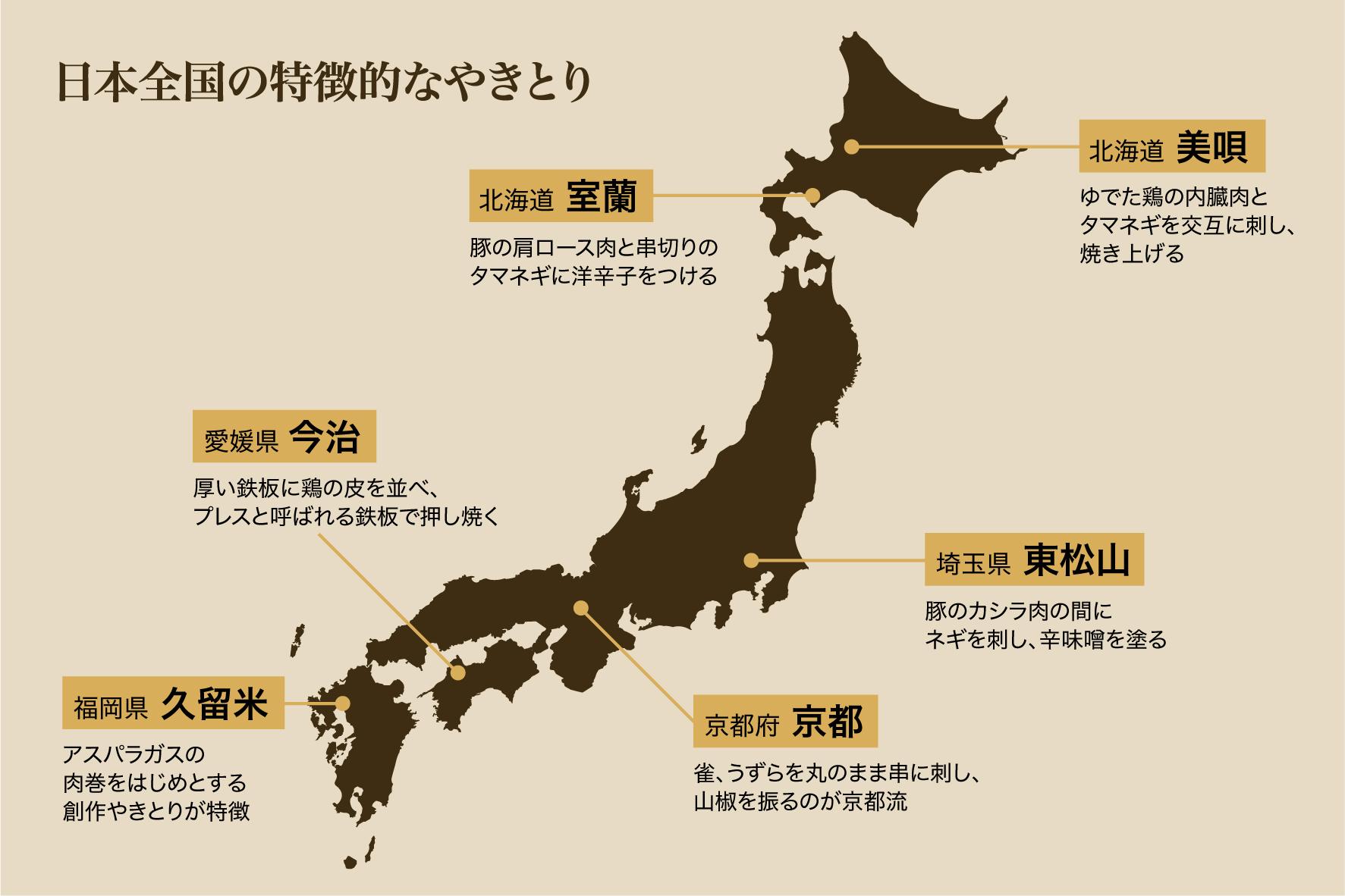 日本全国の特徴的なやきとり
